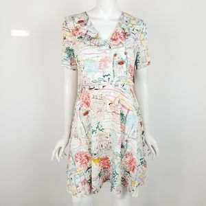 Joanie Posey Tea Dress Paris France Fit Flare Sz 6